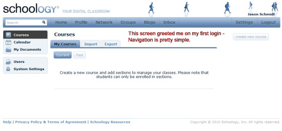 Schoology login screen